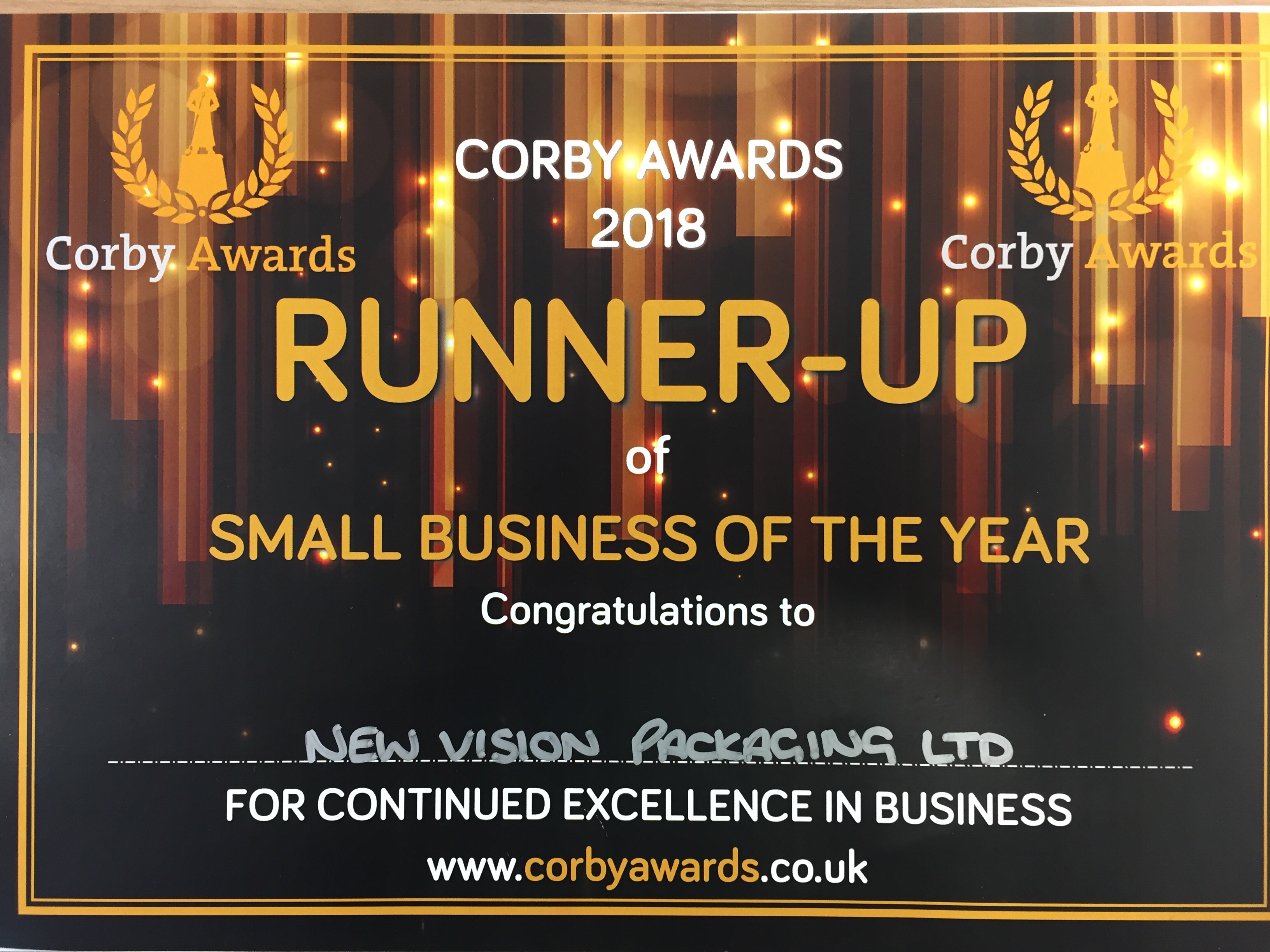 New Vision Packaging wins runner-up in 'Small Business of the Year' at the Corby Awards 2018