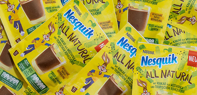Nesquik launches All Natural cocoa powder in recyclable paper packaging