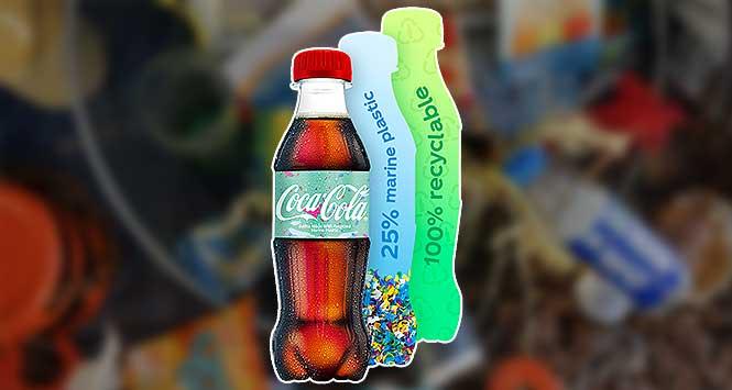 Coca Cola Bottle made of marine plastic