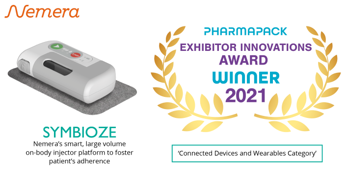 Symbioze, the smart, high volume and sustainable on-body injector platform developed by Nemera, wins the 'Connected Devices and Wearables' Award at Pharmapack 2021