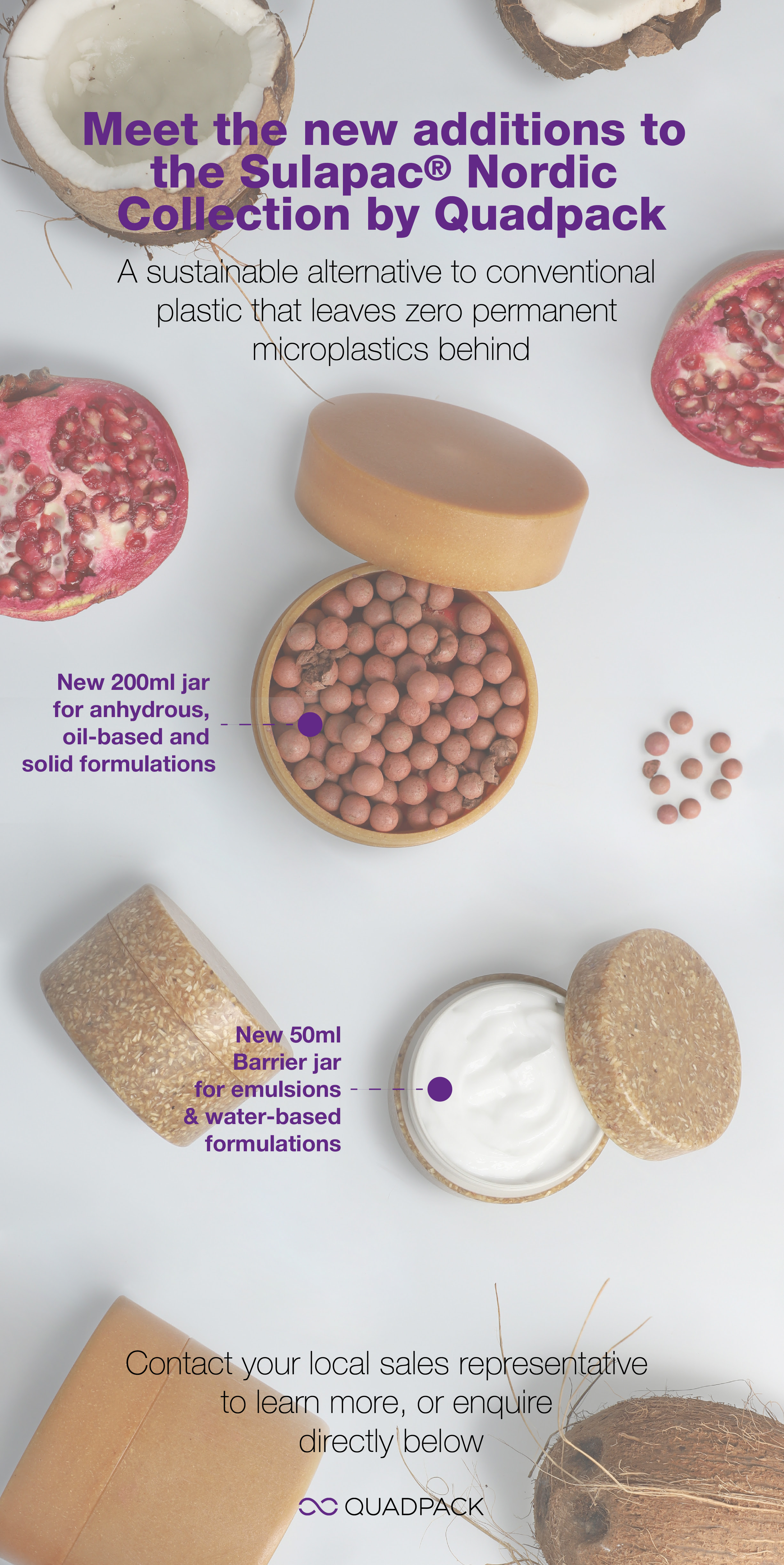 Quadpack unveils its most circular pack yet, a new 50ml jar in Sulapac biocomposite material, with new barrier technology
